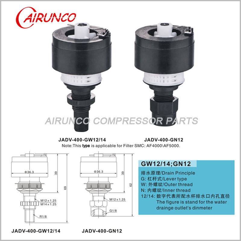 applicable automatic drain valve filter SMC AF4000-AF5000 GW12/14